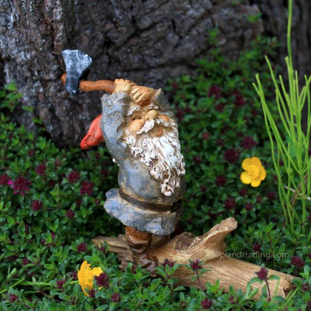 Miniature Garden Gnome Chopping Wood Fairy Hobbit To 4264