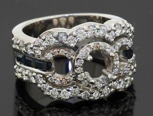 Heavy 14K WG 2.06CTW diamond & Blue sapphire ring semi-mounting size 8.25
