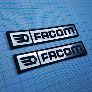 TWO (2) x FACOM Metallic - Aluminium Logo Sticker Badge - 70 mm x 14 mm