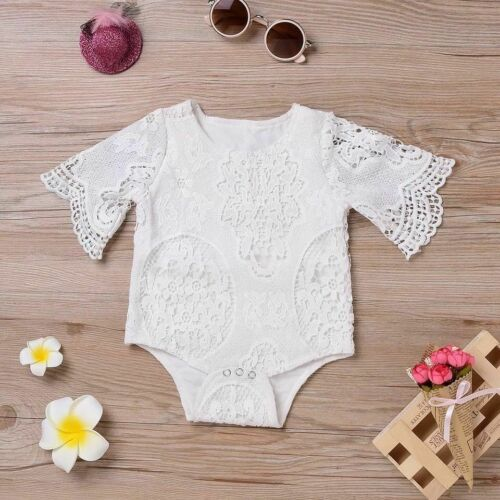 Boho Newborn 1Y Baby Girl Clothes Flower Ruffles Sleeve Lace Romper Bodysuit