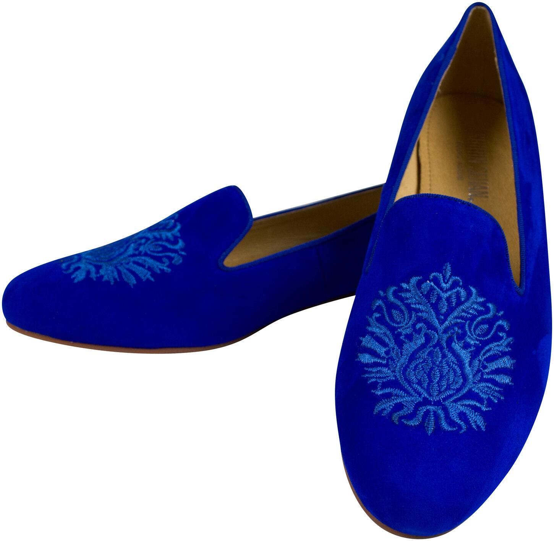 Slipper  Royal Blau mit schuhe Stickerei Wappen kleiner Absatz schuhe mit coat of arms Blau d8aa5f