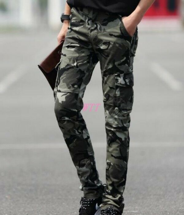 Casual Military Army Cargo CAMO Men'S Slim Fit  Combat Work  Pants Trousers SZ