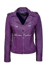 Purple-Ladies-Biker-Style-Slim-Fit-Soft-Lamb-Skin-100-REAL-Leather-Jacket-9823