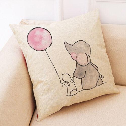 Animal Print Cotton Linen Cushion Cover Sofa Throw Pillow Case Home Decor Z