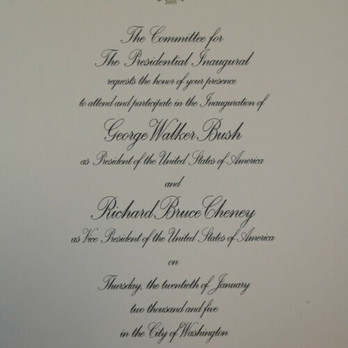 Bush 2005 Inaugural Invitation George W
