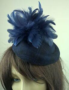 navy blue felt pillbox hat feather flower fascinator wedding bridal ... 761145636df9