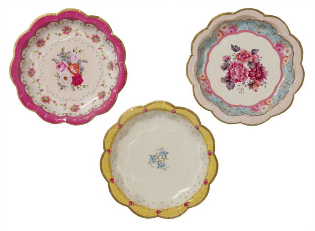 12 Vintage Style Tea Party Plates afternoon tea / buffet Paper Plates 3 designs