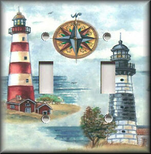 Light switch plate cover nautical lighthouse beach for Beach house decor items