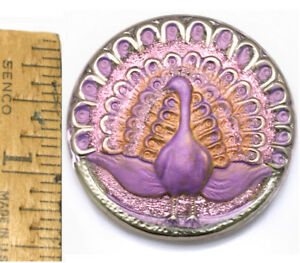 Basket Lavender Lilac Aqua Mirror CZECH GLASS BUTTON