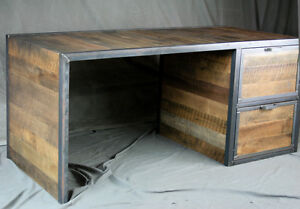 Details about Reclaimed Wood Desk with File Cabinet Drawers. Rustic Office  Furniture. Modern