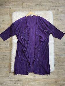 Lularoe-Shirley-Kimono-Lungo-Cardigan-elegante-a-costine-Viola-Lucido-Taglia-Large-Nuovo-senza