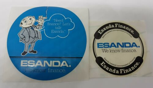 2 x ESANDA FINANCE Stickers  7.5cm /& 10cm Diameter Vintage /'We Know Finance/'