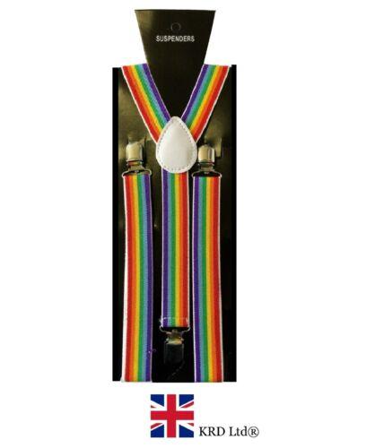 RAINBOW STRIPE BRACES Gay Pride Flag Braces Multi Colour Braces Suspenders UK