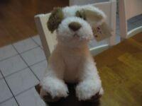 Barnes & Noble Noble Plush Dog Ivory White Cream With Tan 13 Puppy Lovey