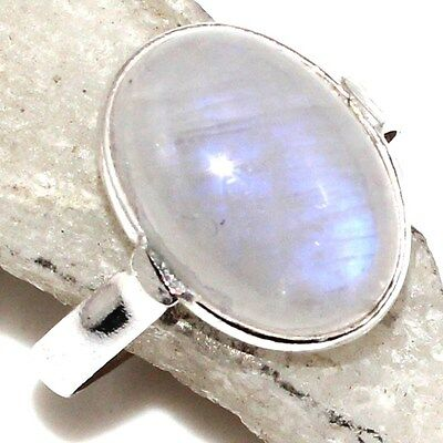 PK11256 Excellent # & 925 SOLID STERLING SILVER RAINBOW MOONSTONE RING US 7.5