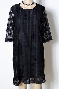 MANGO-Kleid-Gr-S-schwarz-kurz-mini-Kurzarm-Etui-Kleid-aus-Haekelspitze