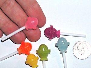 6pc-Set-Lot-Dollhouse-Miniature-faux-Lollipops-candy-food-Easter-Hallowee-craft