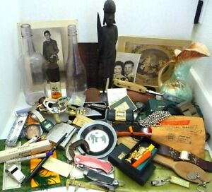New Listing JUNK DRAWER LOT KNIVES OLD BOTTLES WATCH JEWELRY PHOTOS