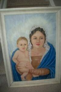 VINTAGE-MADONNA-CHILD-OIL-PAINTING-1930-039-s-F-FOLLETT-LISTED-CHURCH-FIND-SANTA-FE