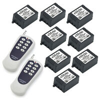 DC 12V 8X1CH Relays Wireless Remote Control Switch Set RF 2 Transmitter Receiver