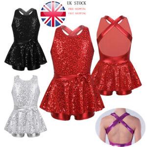 UK-Girl-Jazz-Ballet-Modern-Tap-Dance-Leotard-Dress-Sequin-Racerback-Tutu-Costume