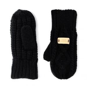 Aran Traditions Unisexe Hiver Cable Tricoté Moufles Gants-noir