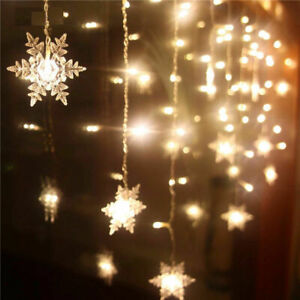 20-LED-Snowflake-String-Curtain-Window-Light-Christmas-Wedding-Party-Decor-NEW