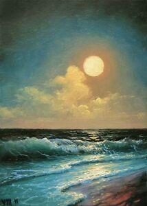 "46-5/""x 7/"" ORIGINAL CANVAS FINE ART PRINT SEASCAPE Moon Night Waves Mesheryakov"