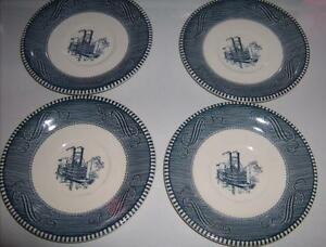 Steamboat-Scene-Saucers-Blue-White-Patterned-Trim-USA-6-5-034