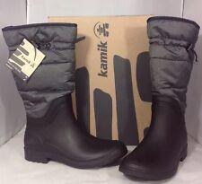 NEW KAMIK Winter Women's Snow Boots Size 7 Black Grey Lined Rubber Rain Shoes