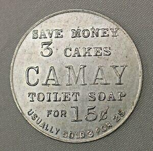 Vintage-Comercio-Token-3-Tortas-de-Camay-Jabon-para-15c-Proctor-amp-Gamble-151-BF