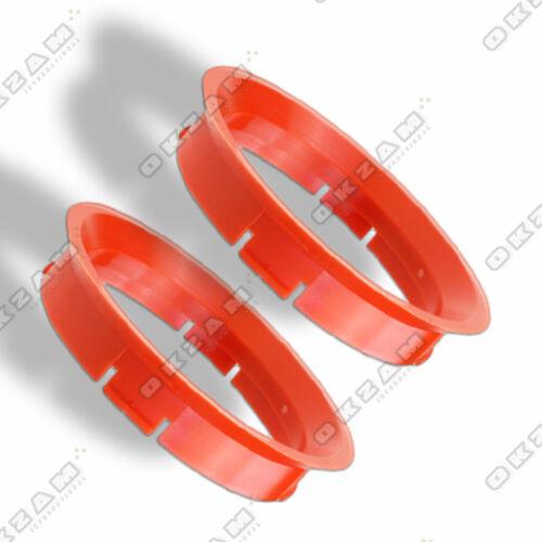 Ø 64.0 mm 2 WHEEL RIM SPACER SPIGOT RINGS FOR ALUMINIUM RIMS RED Ø 56.6 mm