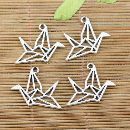 14pcs tibetan silver origami folded-paper cranes design charms EF2410