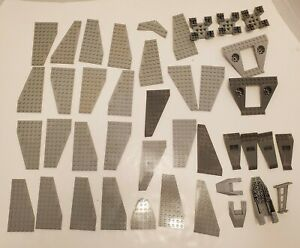 LEGO-LOT-MIX-GREY-WING-PLATE-PIECES-BASE-SPACESHIP-JET-PLANE-PARTS