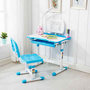 Image is loading Blue-Adjustable-Children-039-s-Study-Desk-Chair-  sc 1 st  eBay & Blue Adjustable Childrenu0027s Study Desk Chair Set Child Kids Table W ...