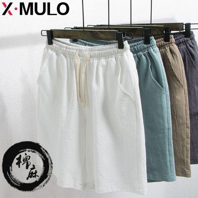 Men's Leisure Short Pants Comfort Trousers Flax Cotton Loose Linen Beach Summer