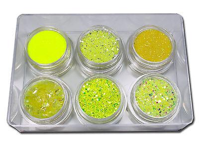 Premium Glitter Puder Set Mix Pailetten Holo Neon Pigment Farbe Gelb #00714-02