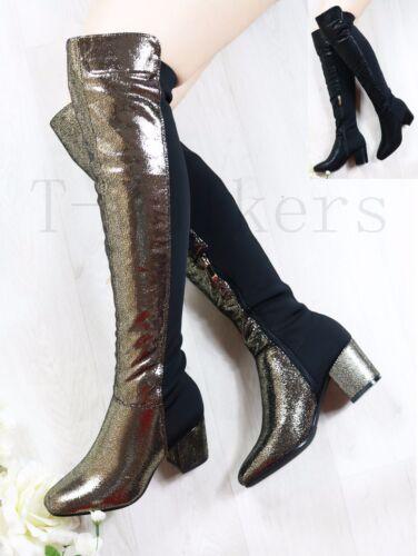 Mesdames Metalic doublé de fourrure à Talon Moyen Bottes Hautes cuisse stretch Zip Chaussures Taille