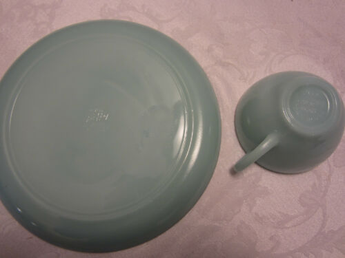 Blue Delphite FIRE KING JADEITE Glass Lunch 1 PLATE 1 CUP 1950s Anchor HOCKING