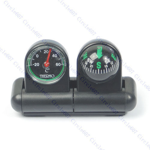 Car Dashboard Boat Suction Pocket Navigation Compass Ball Mount Thermometer
