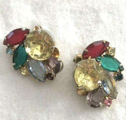 Unsigned Hobe Vintage Earrings Huge Rhinestones Ye