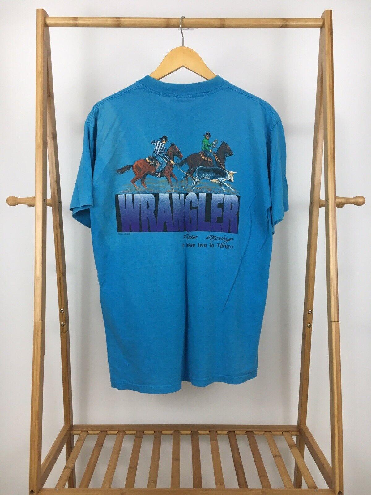 VTG 1993 Wrangler Men's Team Racing It Takes Two To Tango Short Sleeve T-Shirt L