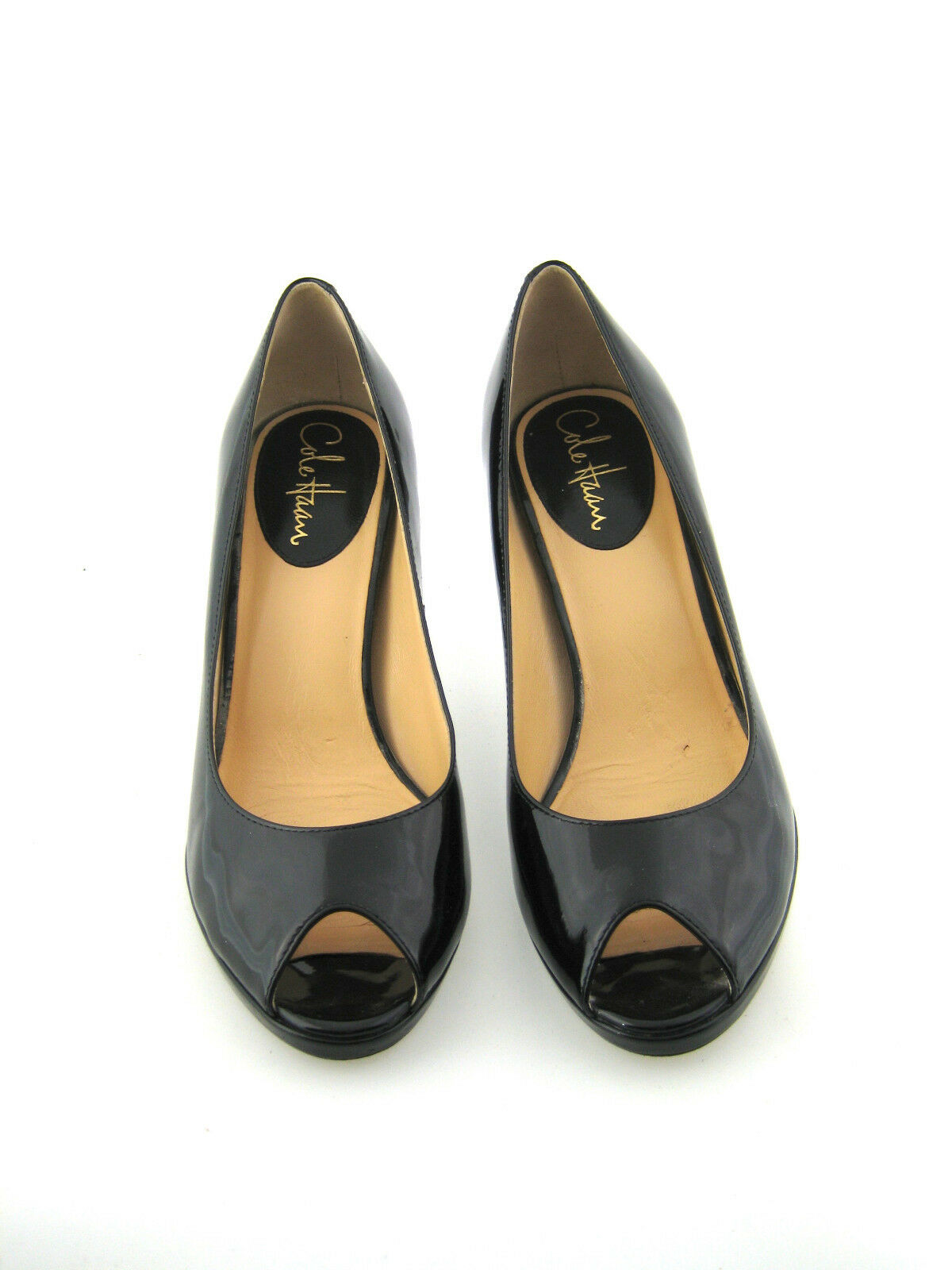 COLE HAAN Black Patent Leather Peep Toe Heeled Pump Size 8