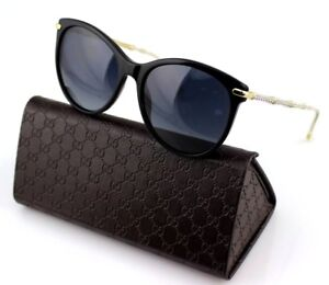2bdae6c69f1 Image is loading POLARIZED-RARE-Genuine-GUCCI-Crystals-Black-Gold-Sunglasses -