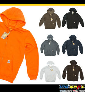 Carhartt-Hooded-Full-Zip-Front-Sweatshirt-Mens-Midweight-Stretchy-Pullover-K122
