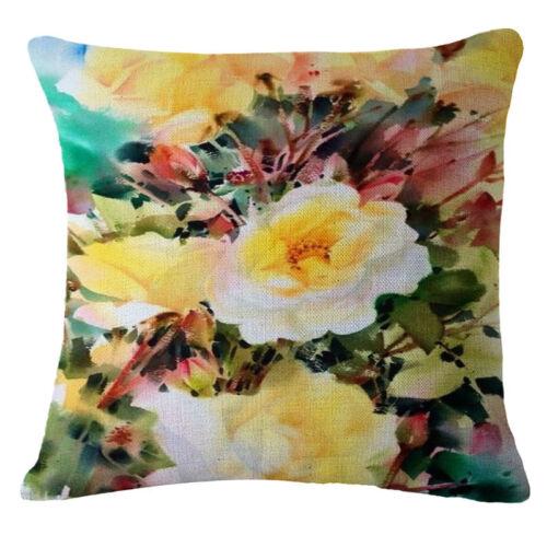 Water lily Sofa Pillow Case Cotton Linen Fashion Throw Cushion Cover Home Decor