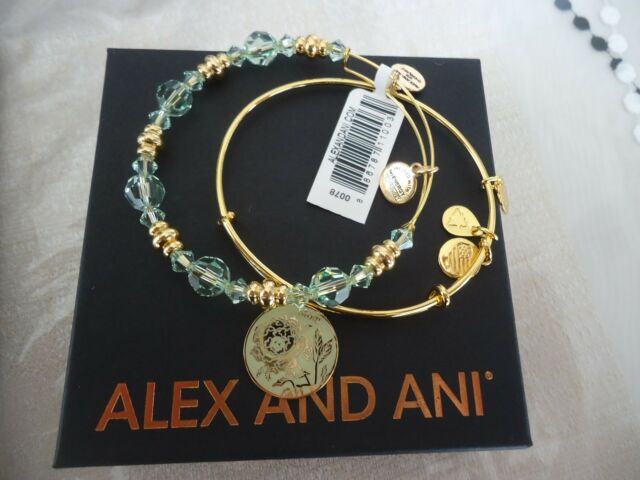 Alex And Ani Mom Color Infusion Set Of 2 Shiny Gold Bangles New W Tag