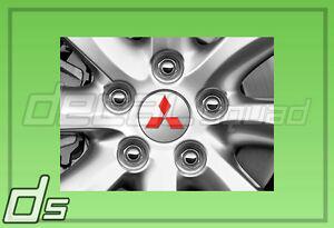 Mitsubishi Lancer 08-15 Lancer Center Cap Emblem Decal Overlays Rim Set Red EVO