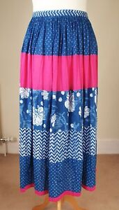 Anokhi-For-East-Sz-UK-12-Crinkle-Block-Print-Cotton-Tiered-Long-Skirt-Blue-Pink