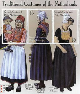 Grenadines Grenada 2002 MNH Trad Costumes of Netherlands 3v M/S Marken Stamps